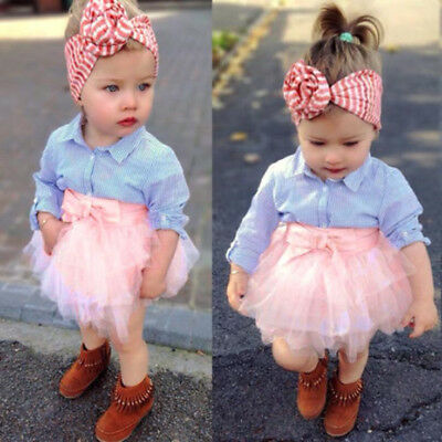 Toddler Kids Baby Girls Outfits Clothes Pretty T-shirt Tops+Tutu Dress Skirt NEW
