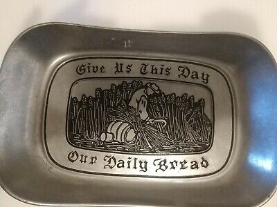 "WILTON Pewter Armetale ""Give Us This Day Our Daily Bread"" Tray, Dish, Plate"