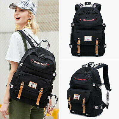 17 Inch Teenager Girls School Canvas Stripe Backpacks Fit Laptop USB Port Charge