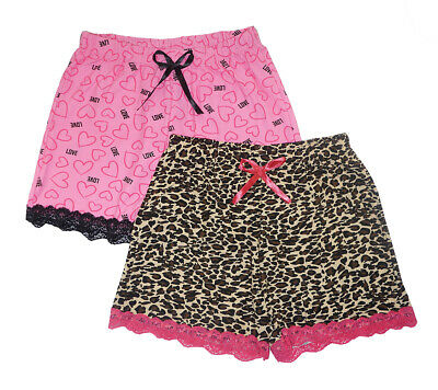 Love To Sleep Women's 2 Pack Lace Detail Pajama Shorts Size S M L XL