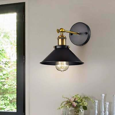 Anastasia Industrial Wall Sconce in Black and Metallic Gold Finish