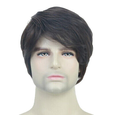 10'' Side Part Men's Short  Wig w/ Bang Natural Looking Wavy Curly Wig