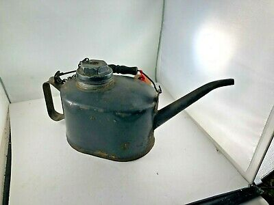 antique oil can spout eagle brand metal rust included missing paint 7054