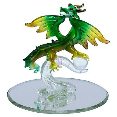 """Hand Blown Glass Dragon With Crystal Ball Figurine On Mirror Base 4"""" High New"""