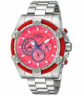 Invicta Bolt 25514 Men's Candy-Red Dial Stainless Chronograph Watch 52mm