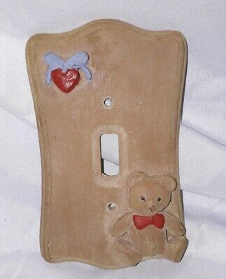 Brown Kids Childrens Heart And Bear Themed 3D Light Switch Cover