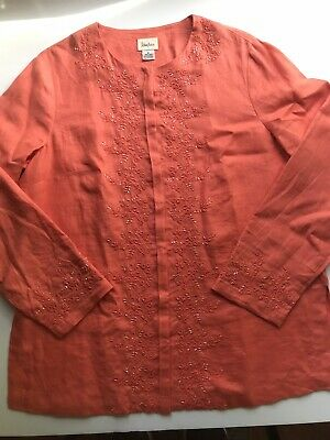 ccbf3a8d710 Neiman Marcus Top Tunic 100% Linen Button -Down Long Sleeve With Trim  Embroidery