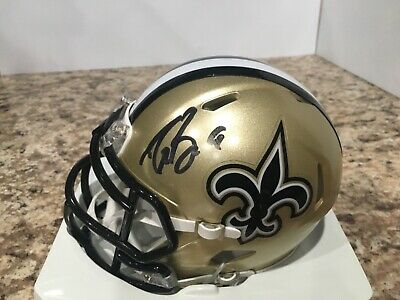 65043ac46ee Drew Brees Autographed New Orleans Saints Chrome Mini Helmet JSA clean  helmet