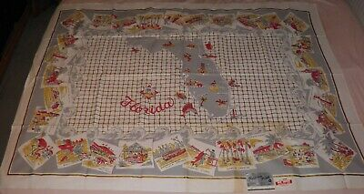 Vintage 1950s NOS FLORIDA MAP TABLECLOTH Parisian Prints NWT Never Used 52 x 70