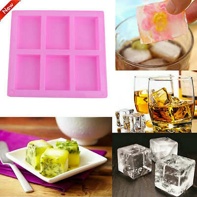 SQUARE 6 Cavity GLOSS Quality Silicone Mould: Soap Candle Muffin CupCake Mold LW