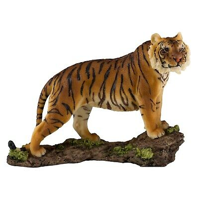 """Realistic Orange Bengal Tiger Figurine Statue 7"""" Long Detailed Resin New In Box!"""