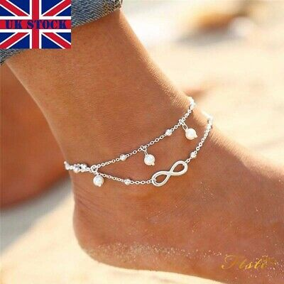 Women Ankle Bracelet 925 Sterling Silver Anklet Foot Chain Boho Beach Beads Gift