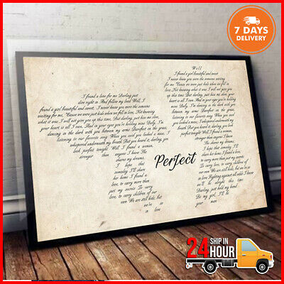 PERFECT ED SHEERAN Lyrics Horizontal 18-24'' Poster Without Frame HD