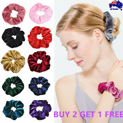 Velvet Scrunchies Ponytail Women Hair band Elastic Hair Bands Scrunchy Girls AU