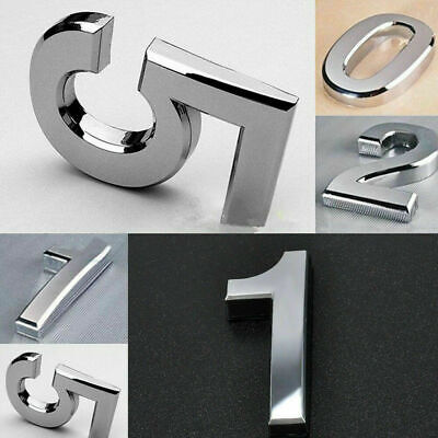 "2"" 3"" Chrome House Door Numbers Self Adhesive Numeral Porch Digit Plaques Sign"