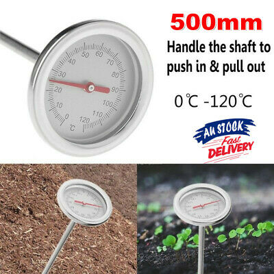 20 Inch Compost Soil Thermometer Premium Stainless Steel Metal Probe Detector M0