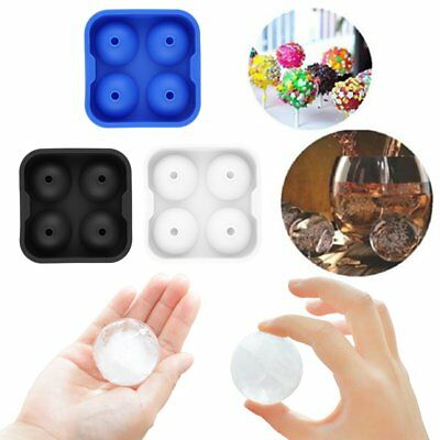 Round Ice Balls Maker Tray FOUR Large Sphere Molds Cube Whiskey Cocktails 2w