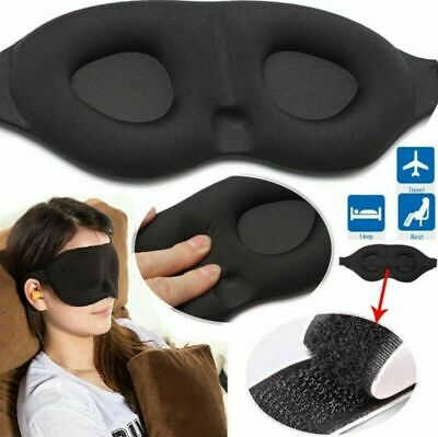 3D Eye Mask Sleep Travel Rest Plane Mask Adult Kids Blackout Soft Padded Black