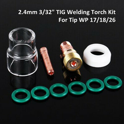 10x TIG Welding Torch Stubby Gas Lens #12 Pyrex Cup Kit For WP-17/18/26 2/32