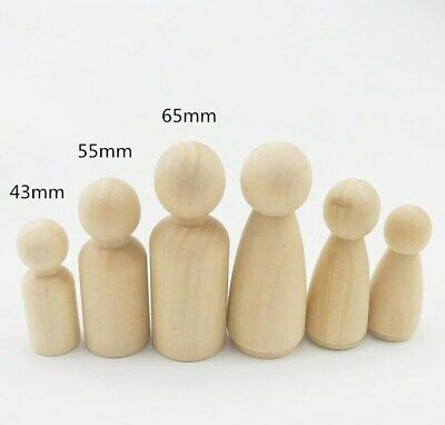 6pcs Wooden Peg Dolls Natural Unfinished Baby Wooden Doll Teether Toys Craft DIY