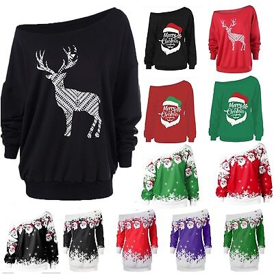 Womens Christmas Off Shoulder Sweatshirt Sweater Jumper Xmas Pullover Dress Top