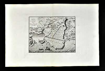 1818 D'Anville Map Birdseye View Ancient Syracuse Sicily Italy Greek City Port