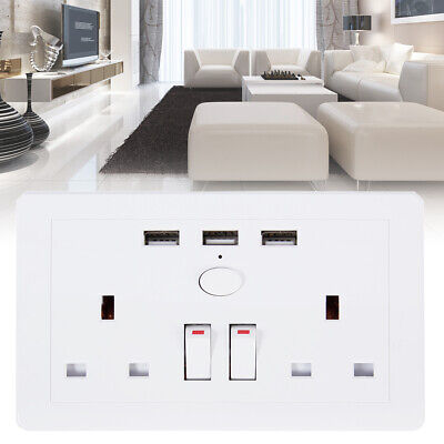 Double Plug Sockets with 2 Gang 3 USB Port Outlets Wall Switch White Box Cover