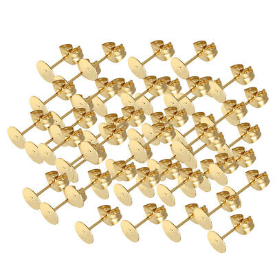 25 Pairs of Stainless Steel Stud Earring Posts Blank Pad With Backs Stopper