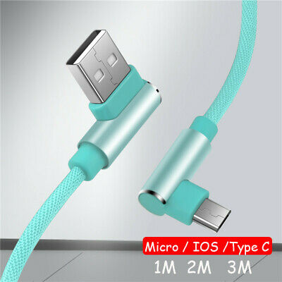 1~3M 90° Double Elbow Data Sync Micro USB IOS Type C Fast Changing Charger Cable