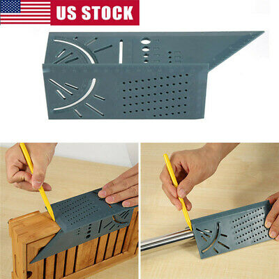 3D Mitre Square Angle Measuring Woodworking Tool with 90 Degree Gauge Rulers/Pen