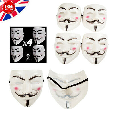 4Pcs Anonymous HackerV For Vendetta Game Master Face Masks Fancy Dress Halloween