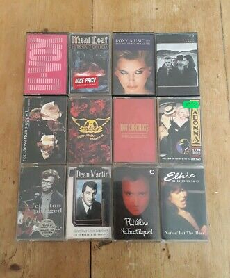 12 Vintage Albums Cassette Tape Job Lot Bundle Madonna U2 Aerosmith Phil Collins