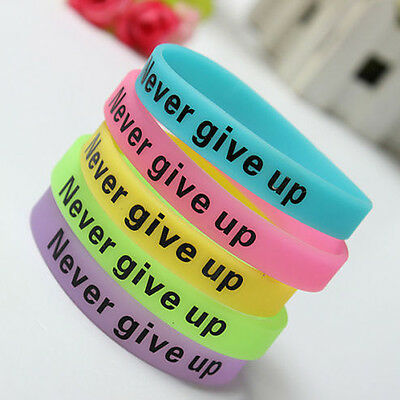 Silicone Luminous Rubber Bracelet Never Give Up Glow in the Dark Sport Wristband
