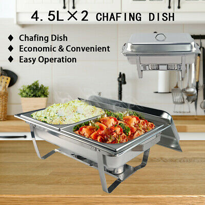 4.5L*2 Bain Marie Stainless Steel Chafing Dish Food Warmer Stackable Set Tray AU