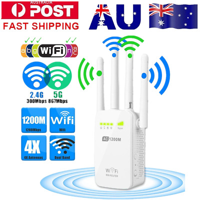 1200Mbps Wireless Range Extender WiFi Repeater Signal Booster Dual Band Router