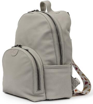 Pink Lining SHOREDITCH VEGAN LEATHER BACKPACK - GREY Baby Changing Nappies BN