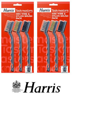 Harris 6 Pcs Mini Wire & Nylon Steel Brass Brush Abrasive Pack Barbecue Bbq 680