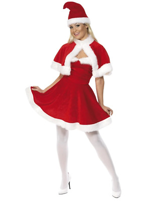 Miss Santa Claus Xmas Christmas Deluxe Fancy Dress Costume Red Velour Dress
