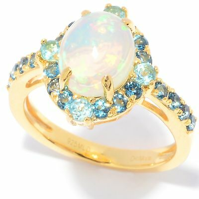 330c97f93 Victoria Wieck Collection 10 x 8mm Oval Ethiopian Opal & Gemstone Halo Ring
