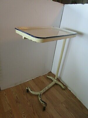 ANTIQUE Rolling Cast iron & enamel Top Table cart Doctor surgical DENTIST Tray