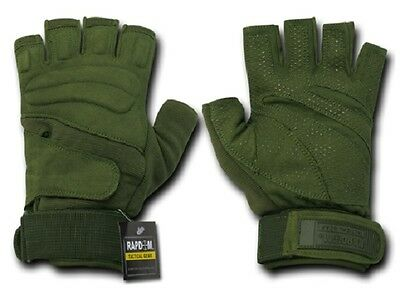 US RAPDOM Lightweight Half Finger Army Military Gloves Handschuhe Oliv S / Small