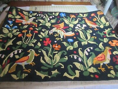 Completed Le Rapace France Needlepoint Tapestry Wool Birds/Flowers LARGE 25 x 34