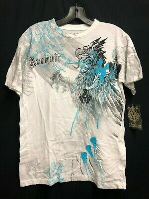 NWT Archaic By AFFLICTION men Short sleeve t-shirt White Tattoo SMALL