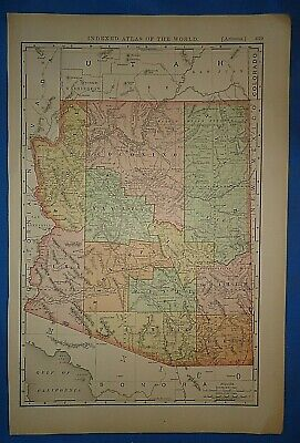 Vintage 1894 ARIZONA TERRITORY MAP Old Antique Original Folio Size Atlas Map