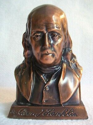 Vintage Copper Metal Benjamin Franklin Suffolk Franklin Savings Bank Boston Mass