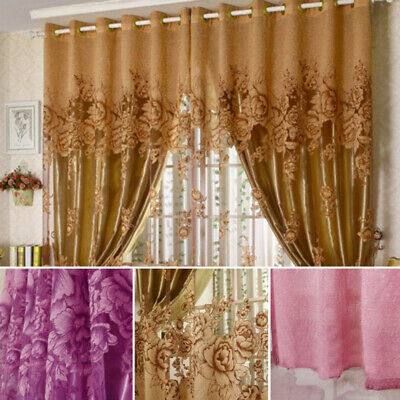 Peony Floral Tulle Voile Door Windows Curtain Drape Panel Sheer Scarf  Valances