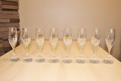 "8 PC Baccarat France Crystal 8 1/2"" Massena Champagne Flute Glasses!"
