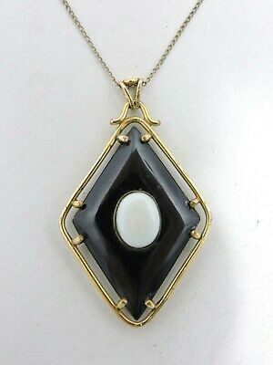 Beautiful Vintage Art Deco 1/20 14kt Gold Filled Onyx Opal Necklace