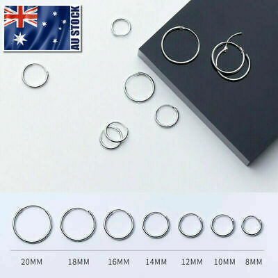 Titanium Nose Lip Ear Septum Seamless Segment Clicker Ring Hoop Earrings Sleeper