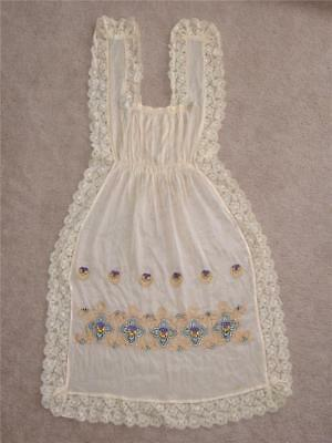Antique Silk Embroidered Pinafore Apron Pansy Flowers Lace WWI French Edwardian